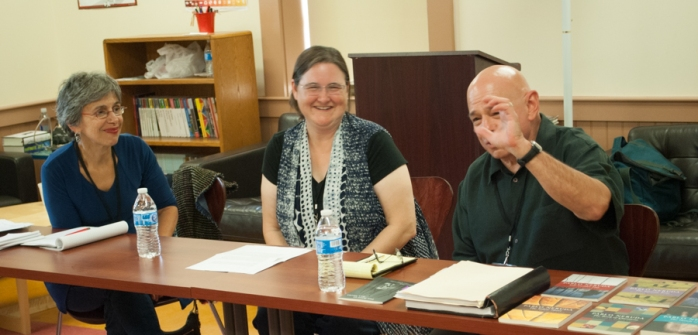 Our translation panel at the 2015 New Hampshire Poetry Festival. Left to right: Elizabeth J. Coleman, JS Graustein, & William O'Daly. Photo by Dan Szczesny. Click to see more photos from the tour.