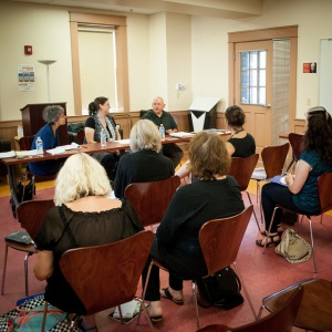 Folded Word editor J.S. Graustein leads a panel on translation with translator Elizabeth J. Coleman and translator and author William O'Daly at the first ever New Hampshire Poetry Festival in Manchester, NH earlier this September.