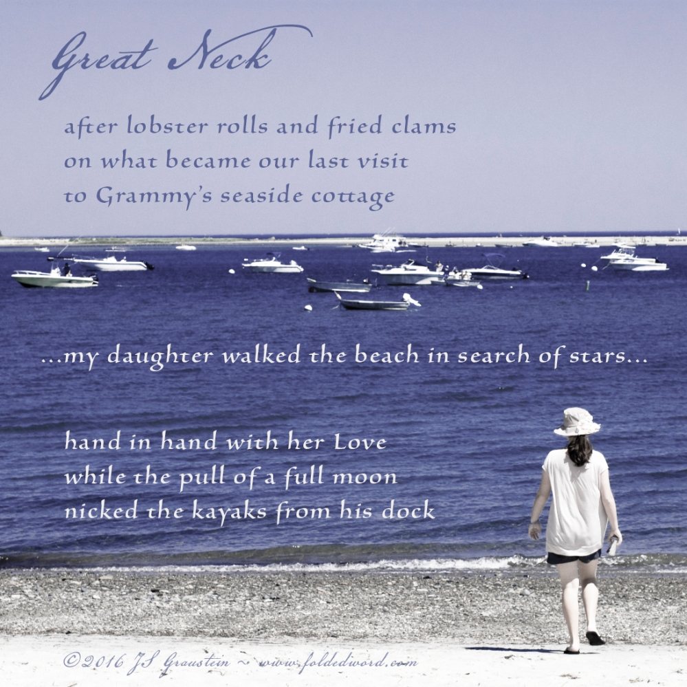 a poem on a photo of a young lady walking on the beach