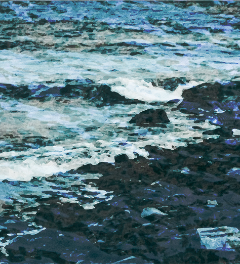 stylized photo of waves on rocky shore
