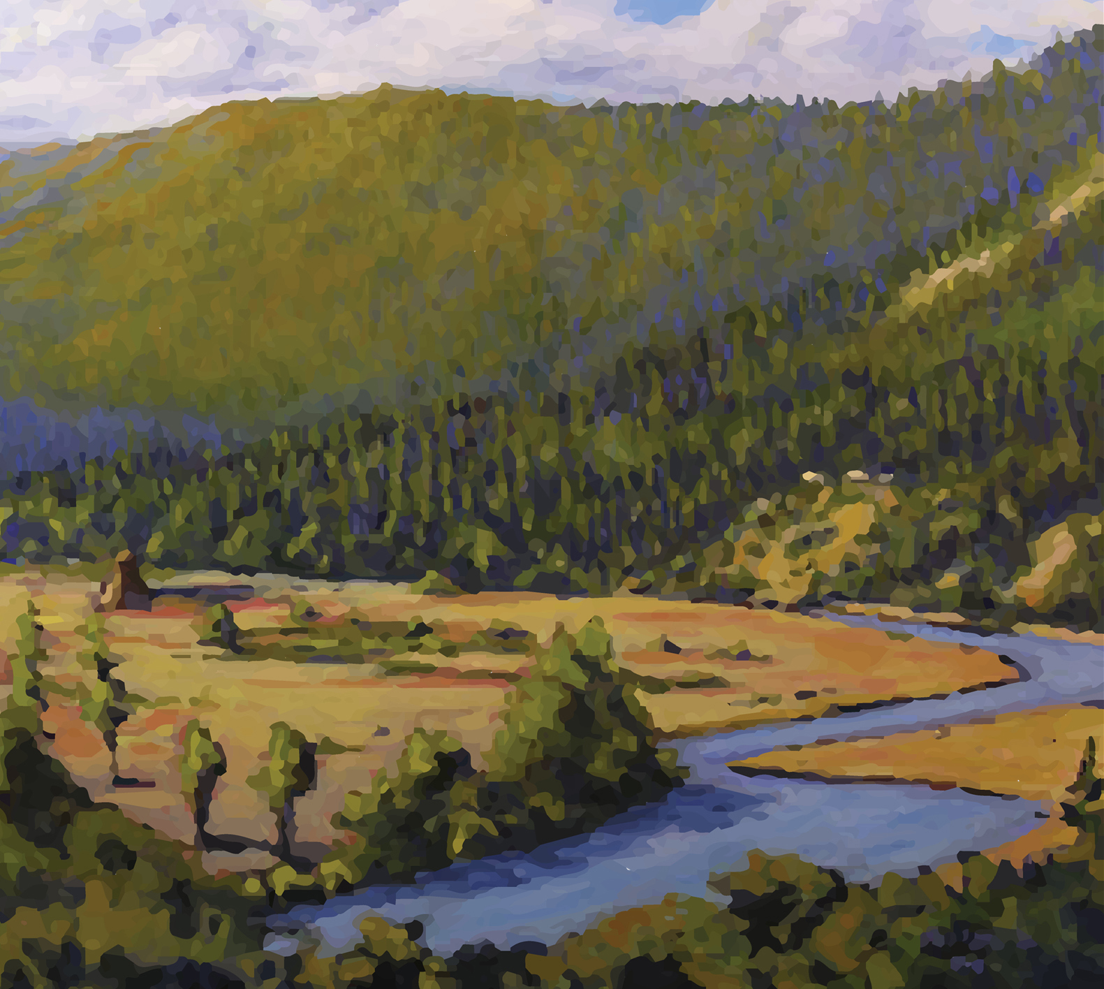painting of mountains and river by Randle Panfilio