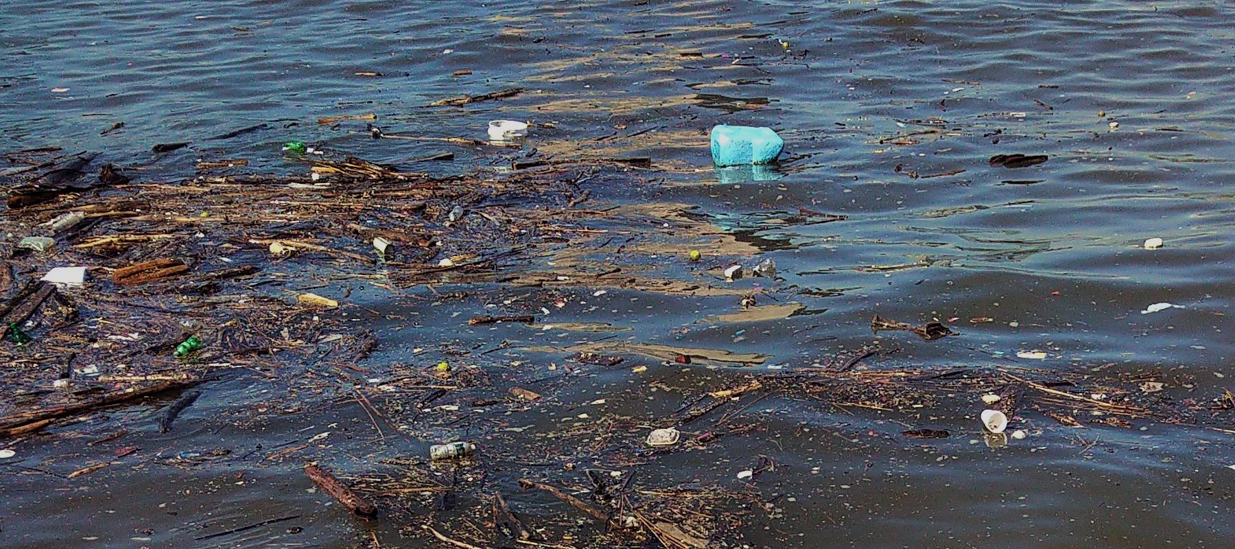 plastic bottles floating on the Hudson River
